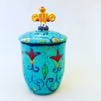 Teal cup with lid