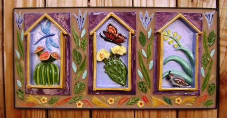 large butterfly mosaic, flowers, pom & pear set 015