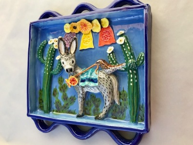 Chlad, Robin Best Friends Shadow Box, Ceramic Sculpture, 9 x 10 x 3 inches (rgt, side view) $400.
