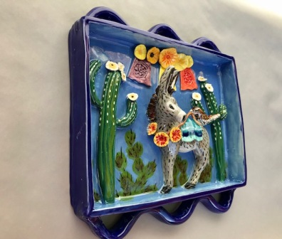 Chlad, Robin Best Friends Shadow Box Ceramic Sculpture 9 x 10 x 3 inches, (side view) $400.