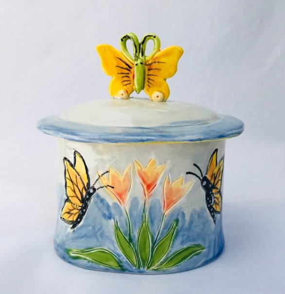 """Butterfly Canister Back, 6 x 6"""" x 4"""""""