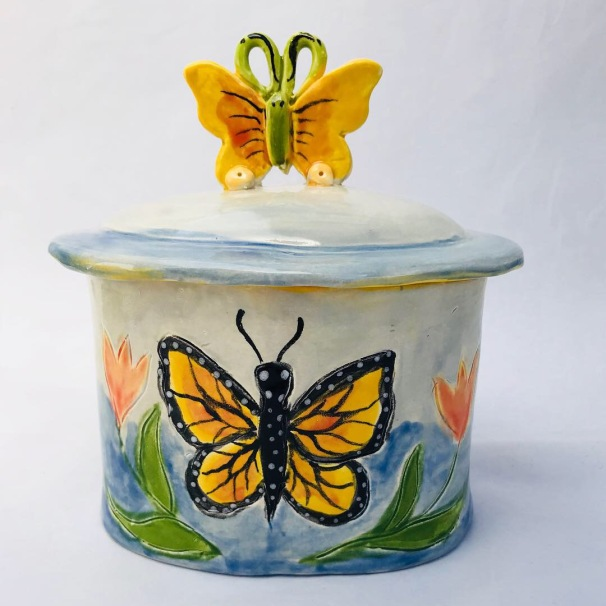 Butterfly Canister Front $95.00