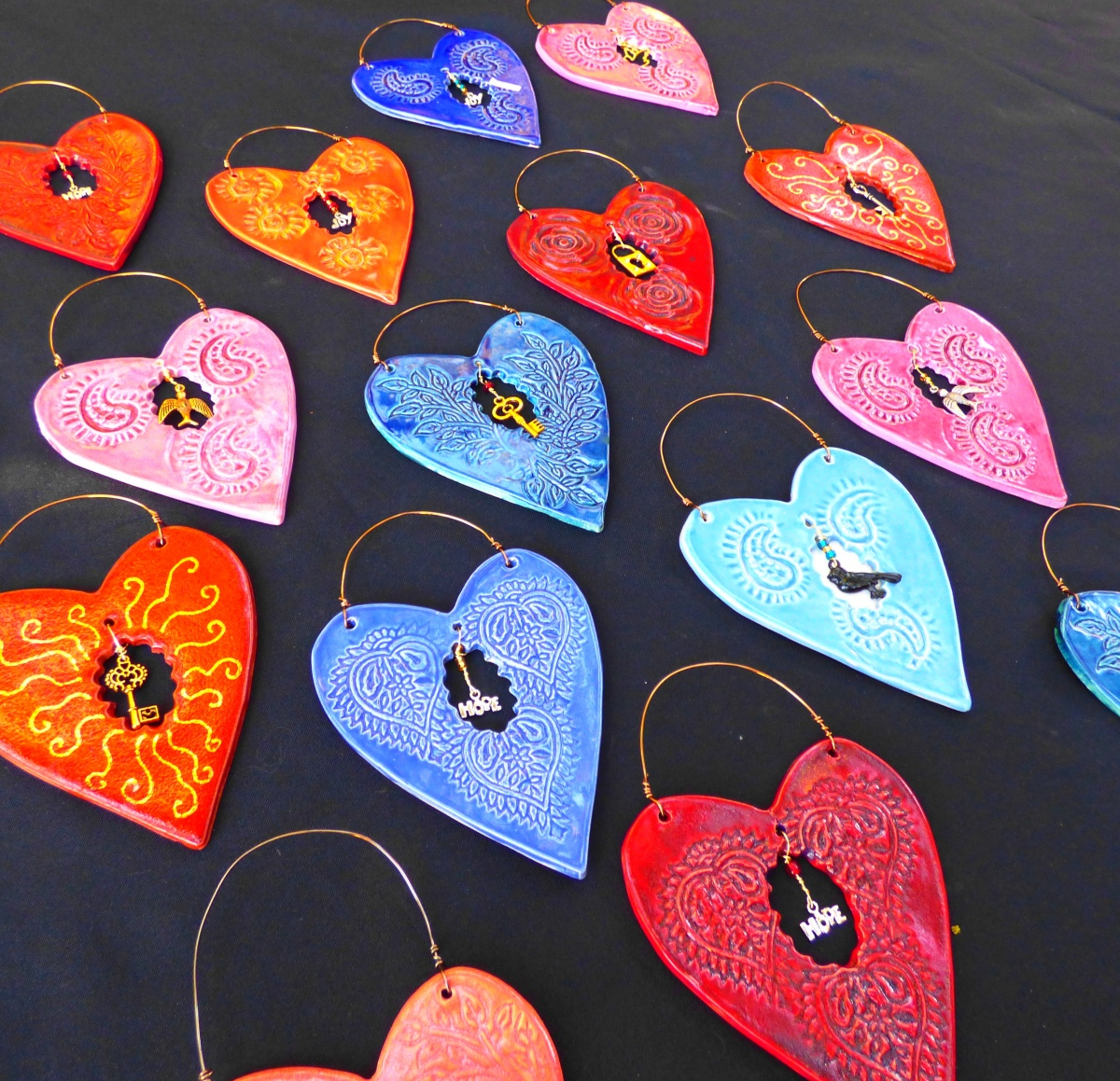 display of wall hearts