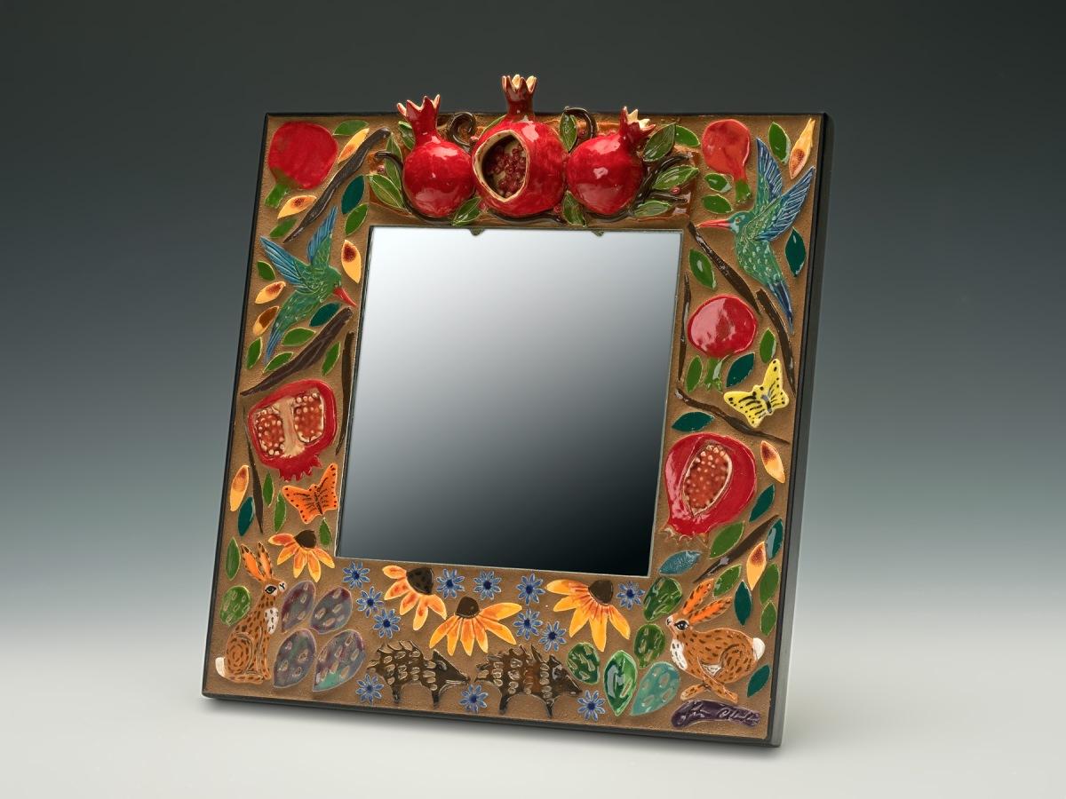 pomegranate 12 inch mirror robin chlad
