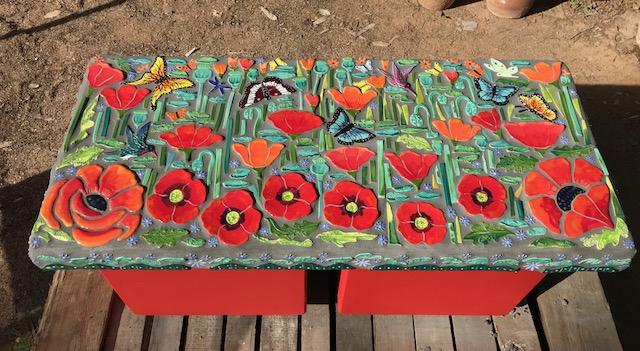 Red Poppy Field Garden Bench