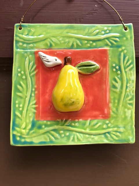 Pear with Little Bird Tile