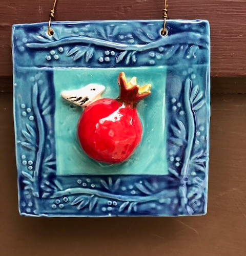 Pomegranate with Little Bird Tile