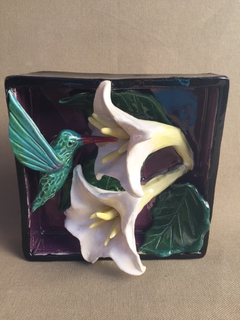 Chlad, Robin, Title, Hummer and Datura, Ceramic, clay Shadow Box, 5 x 5 inches, $150.00