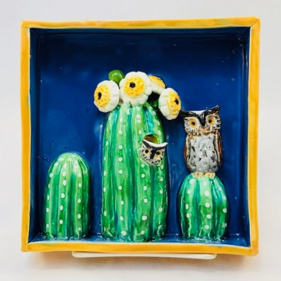 Owl with Owlet on top Saguaro