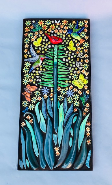 Chlad Robin, A Symphony of Nature, Handmade mosaic and 3-d Tile, in Frame, 9 x 20 inch wall hanging, $600.00
