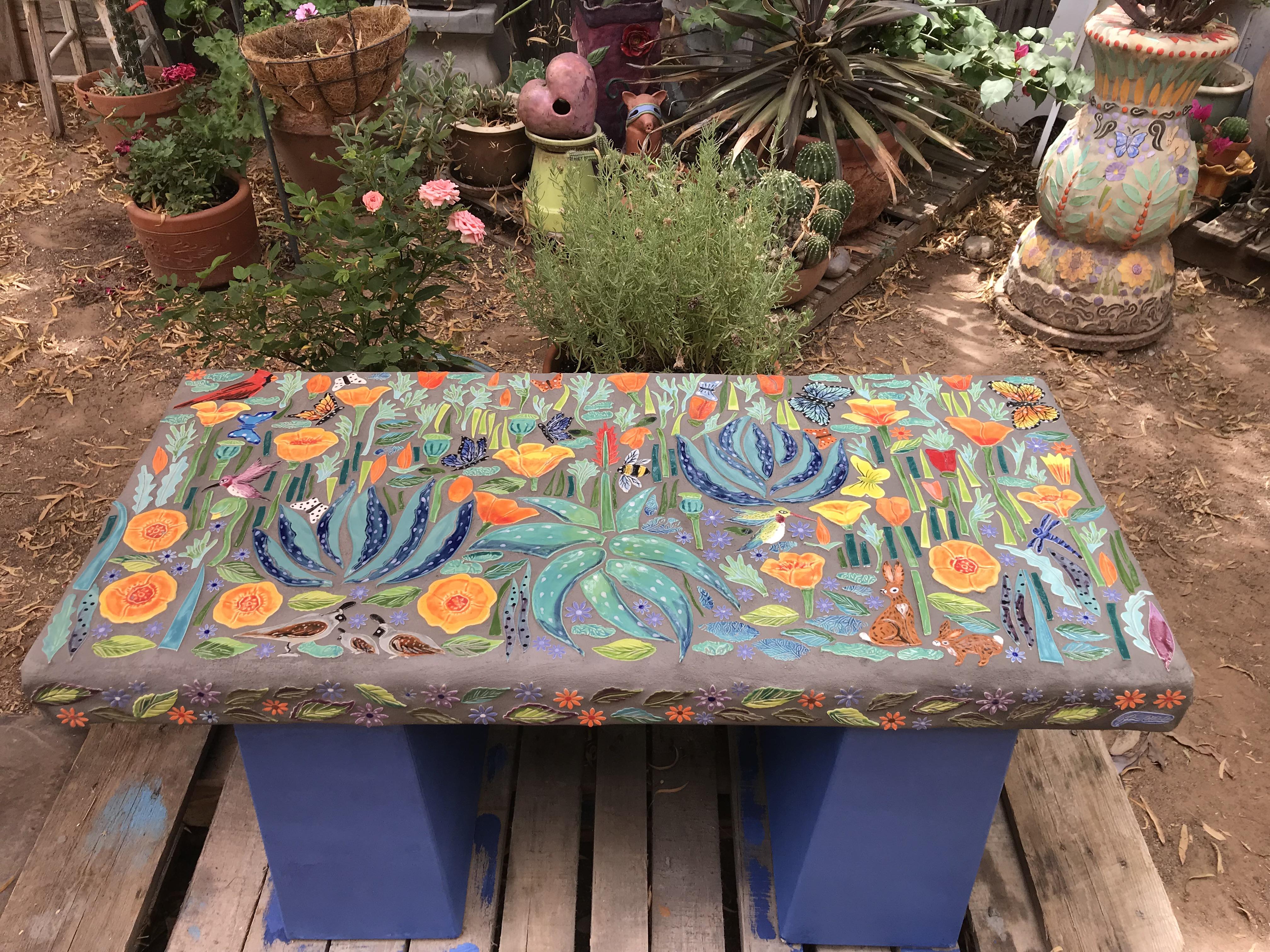 Aloe and Ca poppy bench