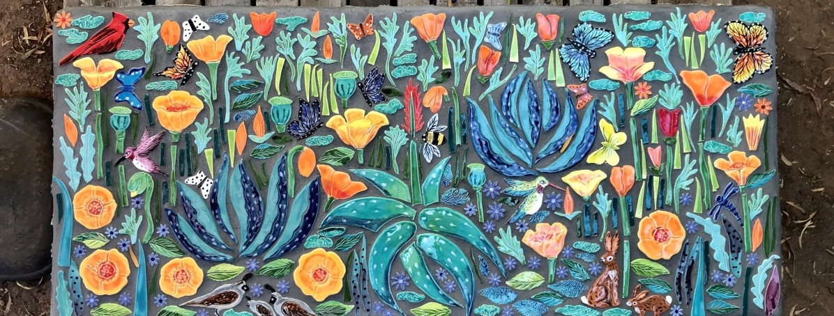 Aloes and California Poppy Bench A garden full of life with a cardinal, hummingbirds, butterfies, bumblebees, quails, and bunnies. Available now at Jane Hamilton Fine Art Gallery, Tucson, AZ