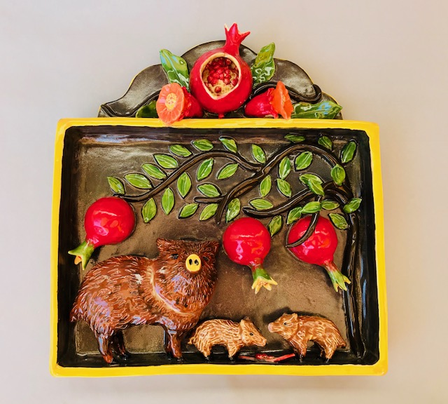 Chlad, Robin Javalina and Pomegranates Ceramic Shadow Box 11.5 x 12.25 x 2.5 inches (front) $600.
