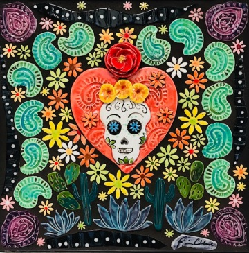"Sugar Skull Mosaic, handmade tile, 10"" square, Availtable"