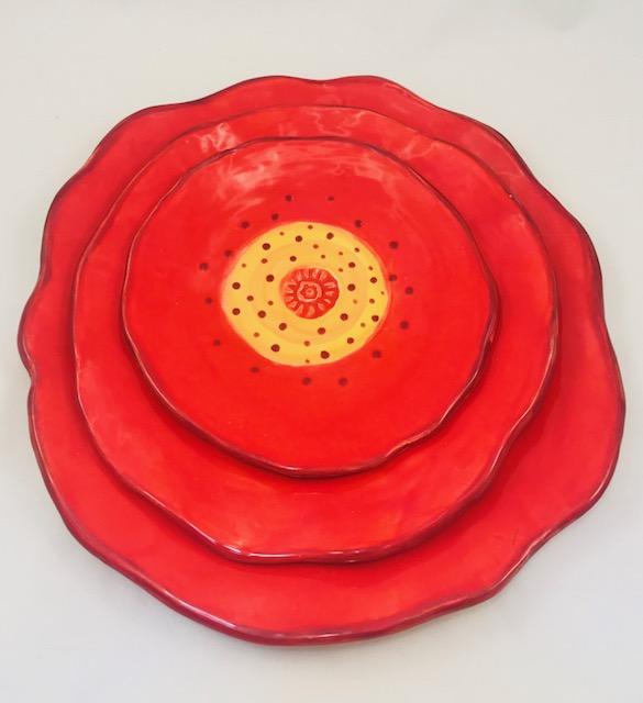 Red Poppy Plates