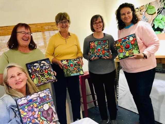 Feb. Group photo of mosaic wksp