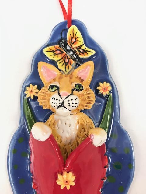 Orange Tabby Cat Heart Pocket