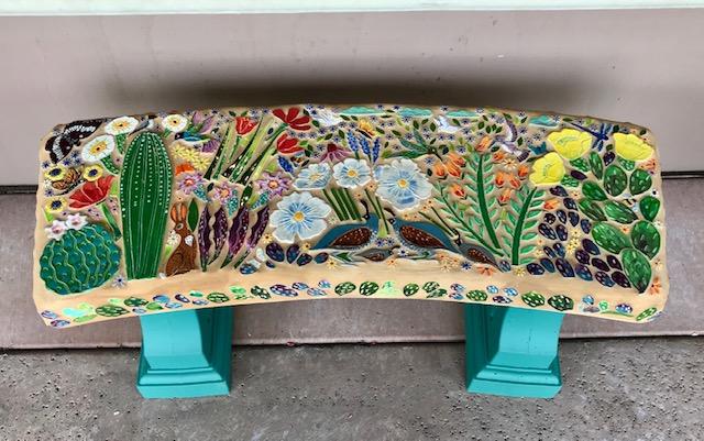 quail cactus garden bench