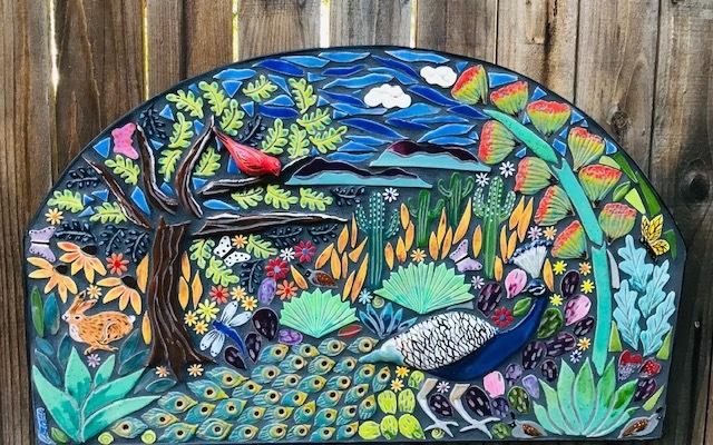 Mosaic garden arch